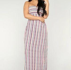 Fashion Nova | Unwind Smocked Maxi Dress Striped